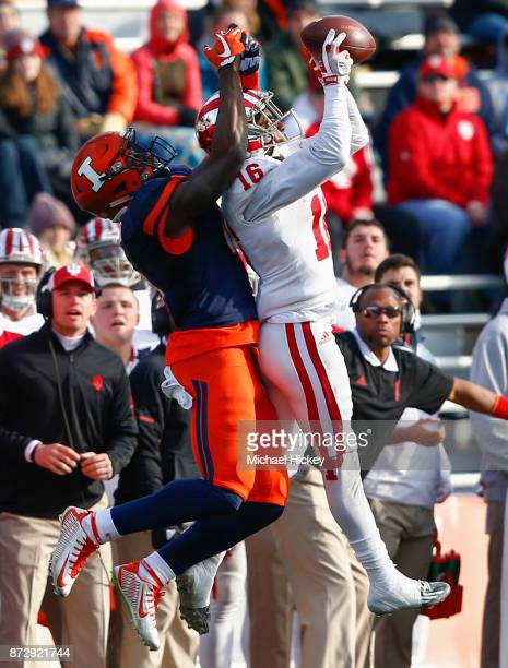 Rashard Fant of the Indiana Hoosiers intercepts the ball in front of Ricky Smalling of the Illinois Fighting Illini during the game at Memorial...