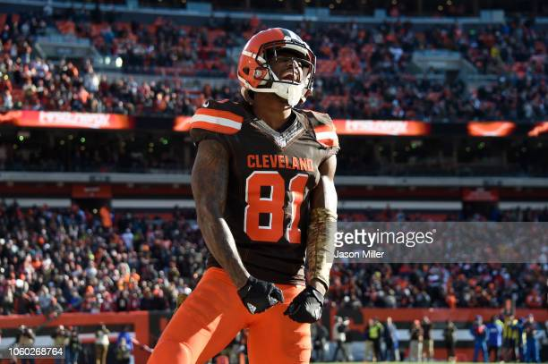Rashard Higgins of the Cleveland Browns celebrates a play in the third quarter against the Atlanta Falcons at FirstEnergy Stadium on November 11 2018...