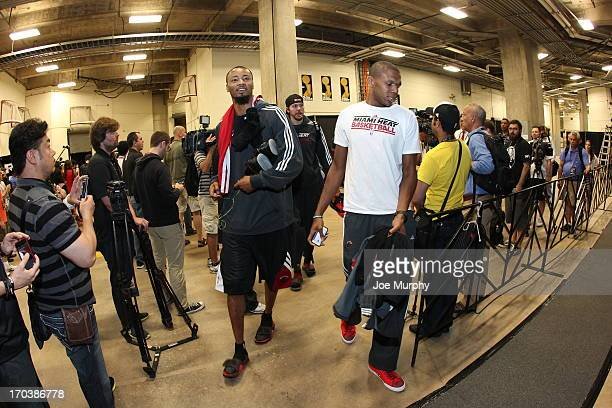 Rashard Lewis and James Jones of the Miami Heat arrive to practice as part of the 2013 NBA Finals on June 12 2013 at ATT Center in San Antonio Texas...