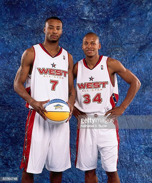 Rashard Lewis and Ray Allen of the Western Conference AllStars pose for a portrait prior to the 2005 NBA AllStar Game at The Pepsi Center on February...