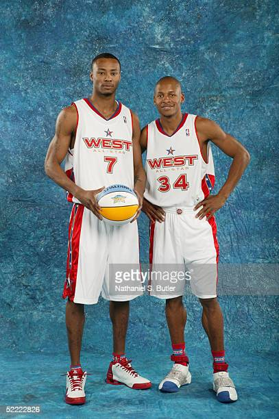 Rashard Lewis and Ray Allen of the Western Conference/Eastern Conference AllStars poses for a portrait prior to the 54th AllStar Game part of 2005...