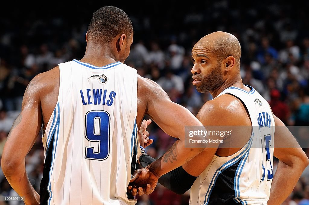 Rashard Lewis #9 and Vince Carter #15 of the Orlando Magic talk together in Game One of the Eastern Conference Finals against the Boston Celtics during the 2010 NBA Playoffs on May 16, 2010 at Amway Arena in Orlando, Florida. The Celtics won 92-88.