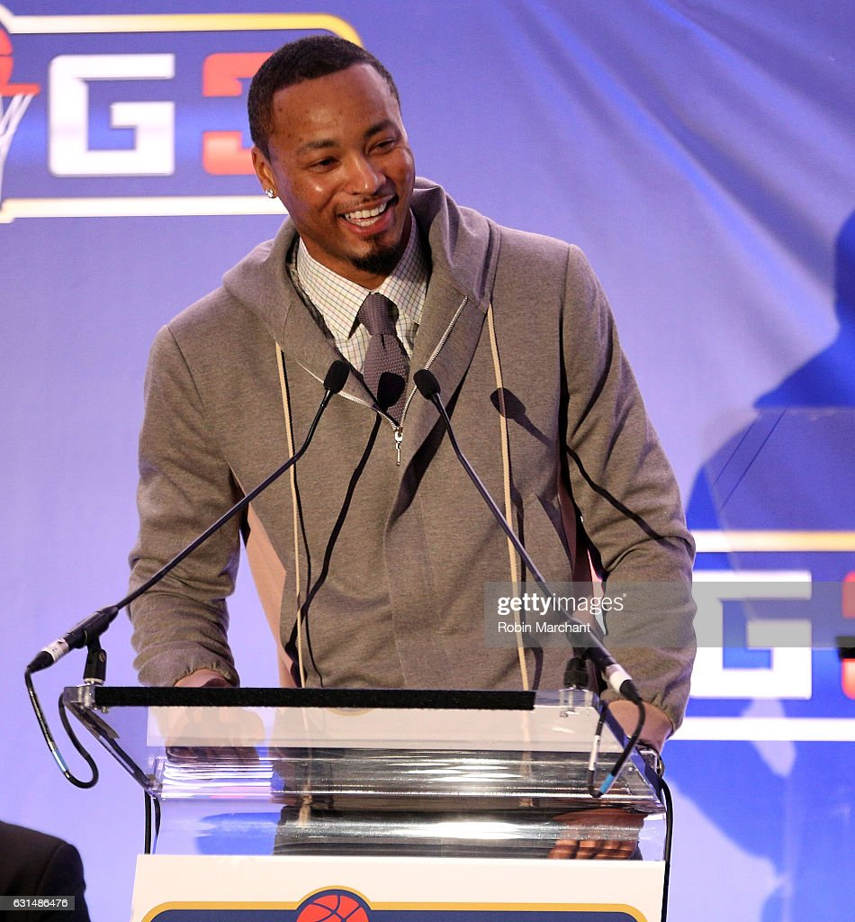 Rashard Lewis attends BIG3 Press Conference on January 11, 2017 in New York City.