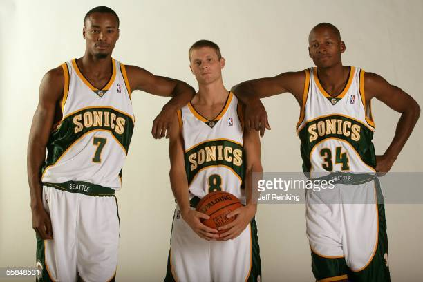 Rashard Lewis Luke Ridnour and Ray Allen of the Seattle Supersonics pose during a photo session for Media Day on October 3 2005 in Seattle Washington...