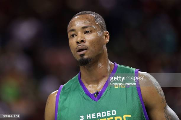 Rashard Lewis of the 3 Headed Monsters looks on in the game against the Power in week nine of the BIG3 threeonthree basketball league at KeyArena on...