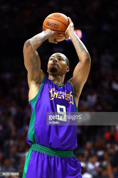 Rashard Lewis of the 3 Headed Monsters shoots against the Ghost Ballers during week one of the BIG3 three on three basketball league at Barclays...