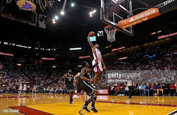 Rashard Lewis of the Miami Heat dunks during a game against the Brooklyn Nets at AmericanAirlines Arena on November 7 2012 in Miami Florida