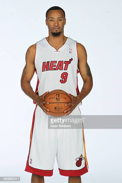 Rashard Lewis of the Miami Heat poses for a photo during media day on September 30 2013 at the American Airlines Arena in Miami Florida NOTE TO USER...