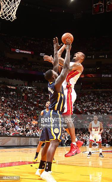 Rashard Lewis of the Miami Heat shoots against the Indiana Pacers during a game on April 11 2014 at American Airlines Arena in Miami Florida NOTE TO...