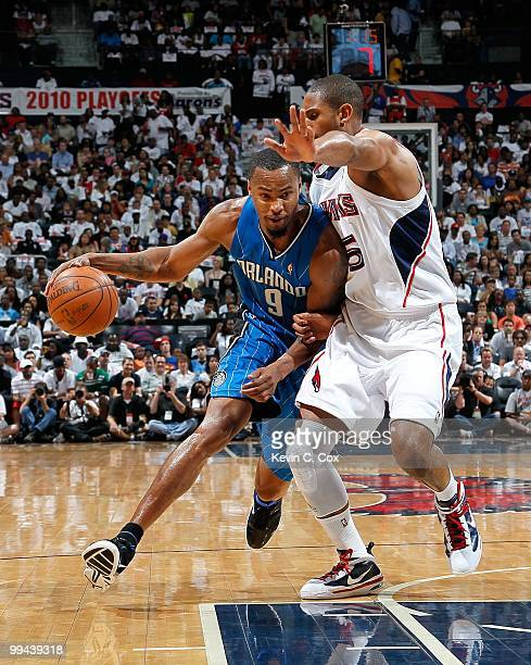 Rashard Lewis of the Orlando Magic and Al Horford of the Atlanta Hawks during Game Three of the Eastern Conference Semifinals during the 2010 NBA...