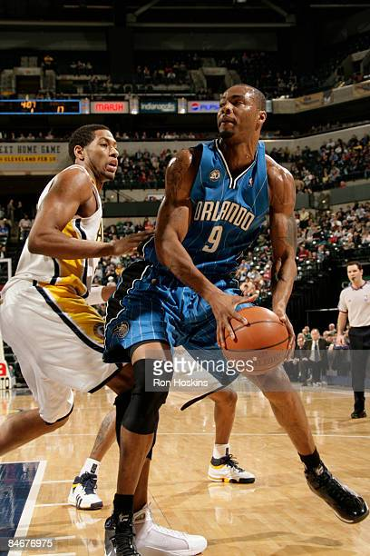 Rashard Lewis of the Orlando Magic drives against Danny Granger of the Indiana Pacers at Conseco Fieldhouse on February 6, 2009 in Indianapolis,...