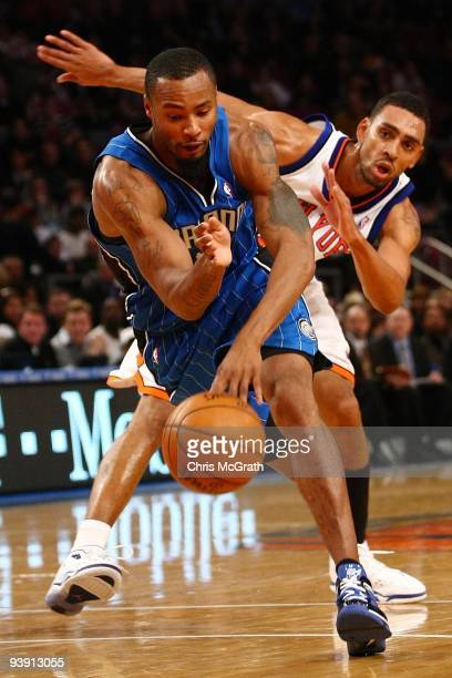 Rashard Lewis of the Orlando Magic drives past Jared Jefferies of the New York Knicks at Madison Square Garden November 29 2009 in New York City NOTE...