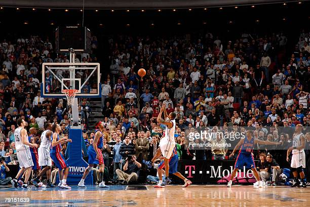 Rashard Lewis of the Orlando Magic scores the game winning basket on a buzzer beater against the Detroit Pistons at Amway Arena on January 21 2008 in...