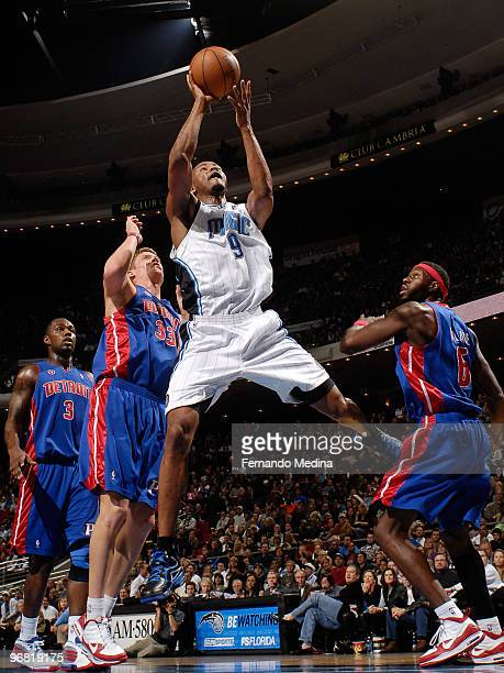 Rashard Lewis of the Orlando Magic shoots against the Detroit Pistons during the game on February 17 2010 at Amway Arena in Orlando Florida NOTE TO...