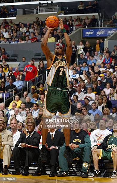 Rashard Lewis of the Seattle Sonics shoots a jumper during the game against the Los Angeles Lakers at the Staples Center on March 5, 2004 in Los...