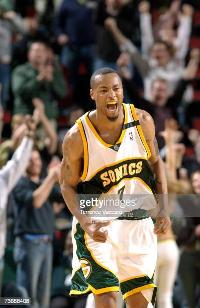 Rashard Lewis of the Seattle SuperSonics celebrates after hitting a 3 point shot in the game against the Minnesota Timberwolves on March 23, 2007 at...