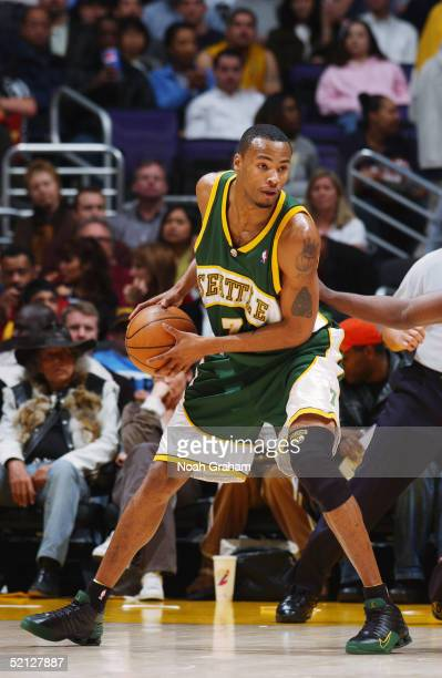 Rashard Lewis of the Seattle Supersonics looks on against the Los Angeles Lakers on January 25 2005 at the Staples Center in Los Angeles California...
