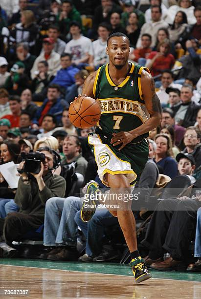 Rashard Lewis of the Seattle SuperSonics moves the ball upcourt against the Boston Celtics at The TD Banknorth Garden on March 9 2007 in Boston...