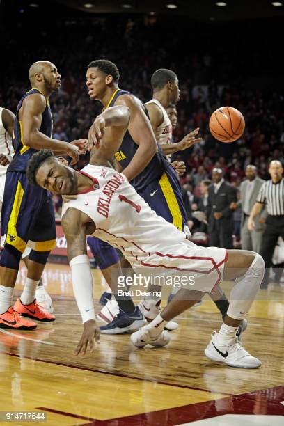Rashard Odomes of the Oklahoma Sooners reacts after being hit on defense against the West Virginia Mountaineers at Lloyd Noble Center on February 5...