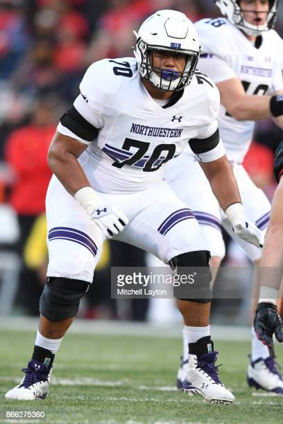 Rashawn Slater of the Northwestern Wildcats in position during a college football game against the Maryland Terrapins at Capitol One Field on October...