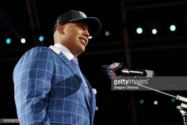 Rashawn Slater speaks onstage after being selected 13th by the Los Angeles Chargers during round one of the 2021 NFL Draft at the Great Lakes Science...