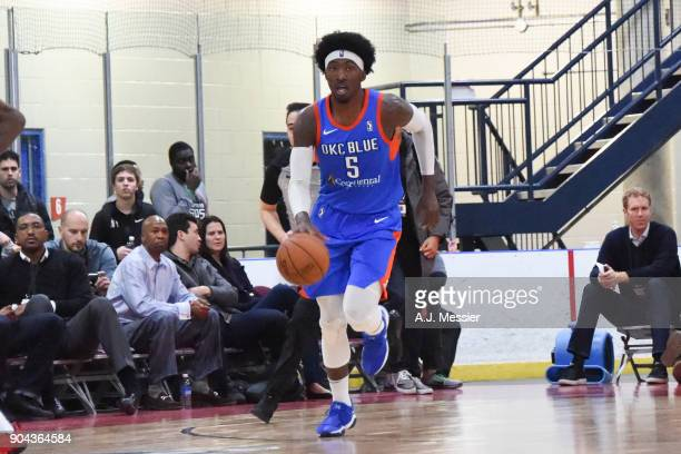 Rashawn Thomas of the Oklahoma City Blue handles the ball against the Long Island Nets at NBA G League Showcase Game 18 on January 12 2018 at the...