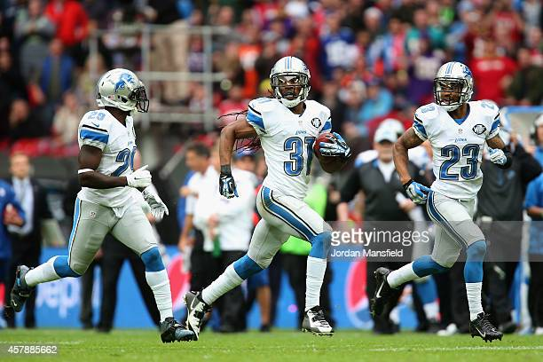 Rashean Mathis of the Detroit Lions breaks with the ball during the NFL match between Detroit Lions and Atlanta Falcons at Wembley Stadium on October...