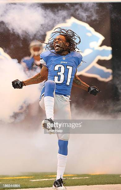 Rashean Mathis of the Detroit Lions enters the playing field prior to the start of the game against the Dallas Cowboys at Ford Field on October 27,...