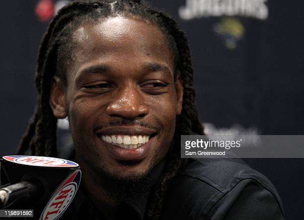 Rashean Mathis of the Jacksonville Jaguars speaks to the media at EverBank Field on July 26, 2011 in Jacksonville, Florida.