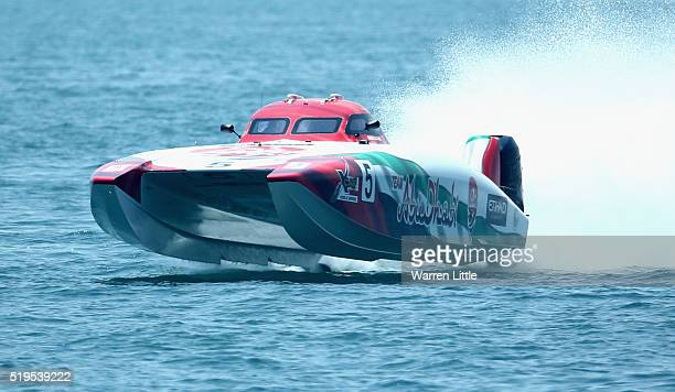 Rashed Suhail Al Tayer and Faleh Khalfan Al Mansoori of Abu Dhabi Team 5 race for pole position during the Fujairah Grand Prix the first round of the...