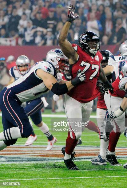 Ra'Shede Hageman of the Atlanta Falcons in action against the New England Patriots during Super Bowl 51 at NRG Stadium on February 5 2017 in Houston...