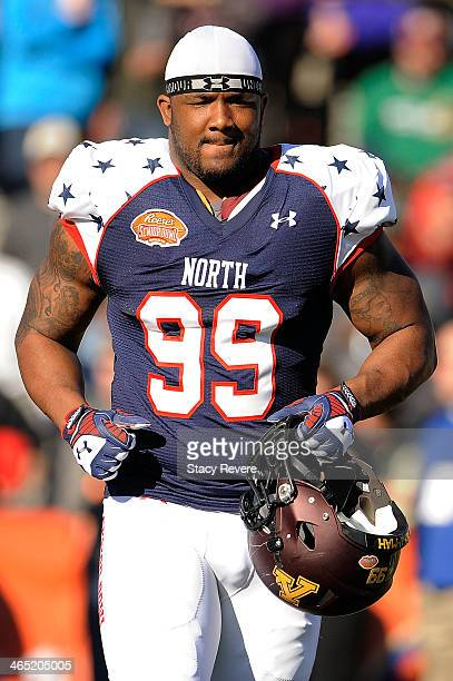 Ra'Shede Hageman of the North squad takes the field prior to the Reese's Senior Bowl against the South squad at Ladd Peebles Stadium on January 25...