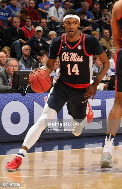 Rasheed Brooks of the Ole Miss Rebels plays in the SEC Quarterfinals at Bridgestone Arena on March 10 2017 in Nashville Tennessee