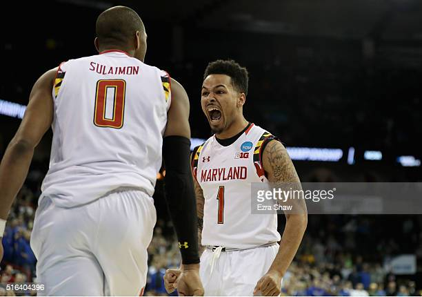 Rasheed Sulaimon and Jaylen Brantley of the Maryland Terrapins celebrate during the closing seconds of the Terrapins 7974 win over the South Dakota...