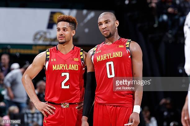 Rasheed Sulaimon and Melo Trimble of the Maryland Terrapins look on against the Michigan State Spartans in the semifinals of the Big Ten Basketball...