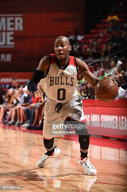 Rasheed Sulaimon of the Chicago Bulls drives to the basket against the Minnesota Timberwolves during the 2016 NBA Las Vegas Summer League on July 18...