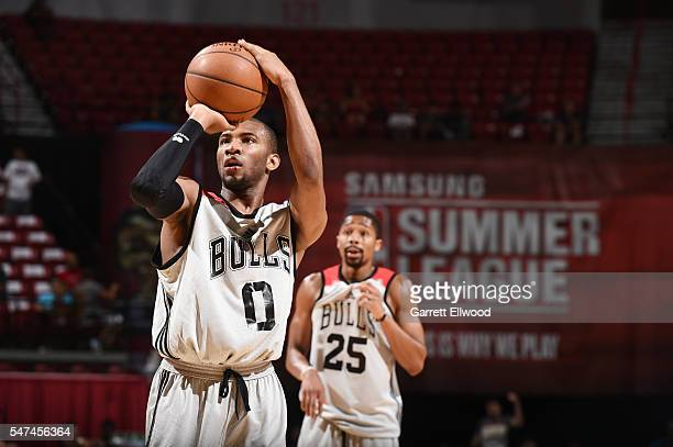 Rasheed Sulaimon of the Chicago Bulls shoots a free throw against the Dallas Mavericks during the 2016 NBA Las Vegas Summer League game on July 14...