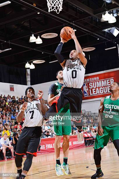 Rasheed Sulaimon of the Chicago Bulls shoots the ball against the Boston Celtics during the 2016 NBA Las Vegas Summer League game on July 9 2016 at...