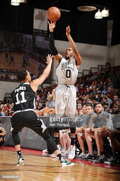 Rasheed Sulaimon of the Chicago Bulls shoots the ball against the San Antonio Spurs during the 2016 NBA Las Vegas Summer League game on July 12 2016...