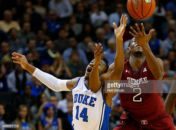 Rasheed Sulaimon of the Duke Blue Devils and Will Cummings of the Temple Owls fight for a loose ball in the first half of a game in the Coaches vs...