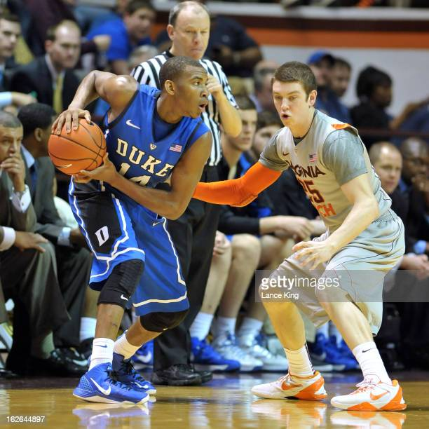 Rasheed Sulaimon of the Duke Blue Devils controls the ball against Will Johnston of the Virginia Tech Hokies at Cassell Coliseum on February 21 2013...