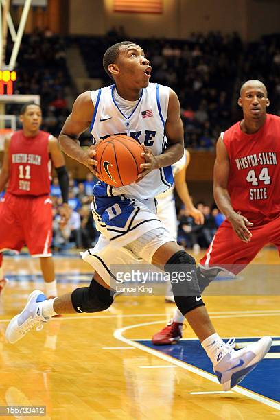 Rasheed Sulaimon of the Duke Blue Devils drives toward the hoop against the WinstonSalem State Rams at Cameron Indoor Stadium on November 1 2012 in...