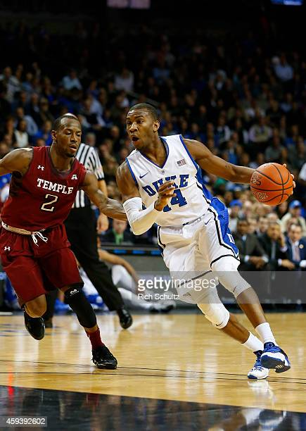Rasheed Sulaimon of the Duke Blue Devils goes to the basket as Will Cummings of the Temple Owls defends in the first half of a game in the Coaches vs...