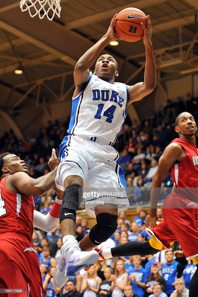 Rasheed Sulaimon #14 of the Duke Blue Devils goes to the hoop against the Winston-Salem State Rams at Cameron Indoor Stadium on November 1, 2012 in Durham, North Carolina.