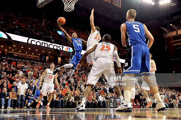 Rasheed Sulaimon of the Duke Blue Devils goes to the hoop against the Virginia Cavaliers at John Paul Jones Arena on February 28 2013 in...