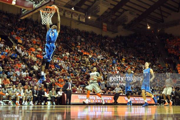 Rasheed Sulaimon of the Duke Blue Devils goes up for a dunk against the Virginia Tech Hokies at Cassell Coliseum on February 21 2013 in Blacksburg...