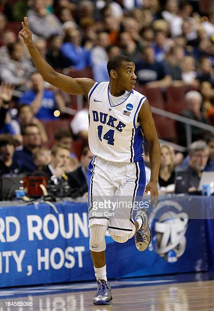 Rasheed Sulaimon of the Duke Blue Devils reacts after making a threepointer in the second half while taking on the Creighton Bluejays during the...