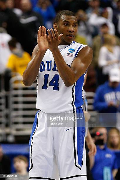 Rasheed Sulaimon of the Duke Blue Devils reacts in the second half while taking on the Creighton Bluejays during the third round of the 2013 NCAA...