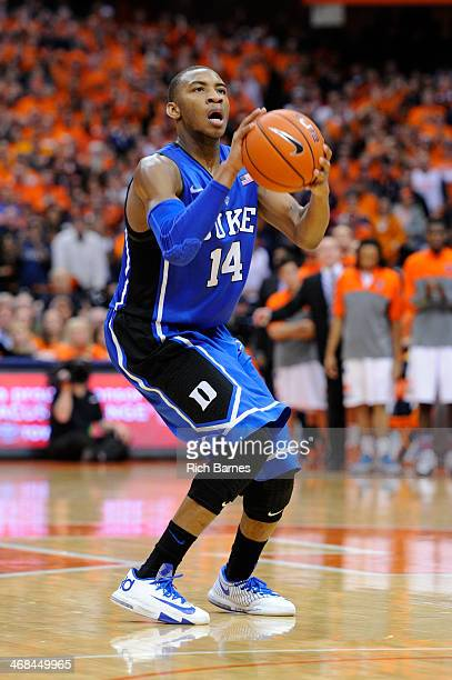 Rasheed Sulaimon of the Duke Blue Devils takes a shot against the Syracuse Orange during the second half at the Carrier Dome on February 1 2014 in...