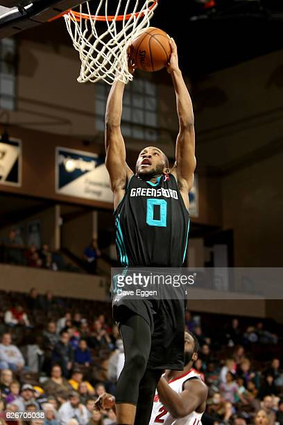 Rasheed Sulaimon of the Greensboro Swarm slams home two points against the Sioux Falls Skyforce at the Sanford Pentagon November 29 2016 in Sioux...